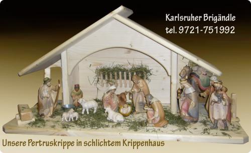 Petrus-Krippe Naturholz handbemalt