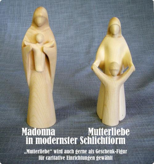 Holzgeschnitzte Madonna modern - Mutterliebe - Caritative Figur