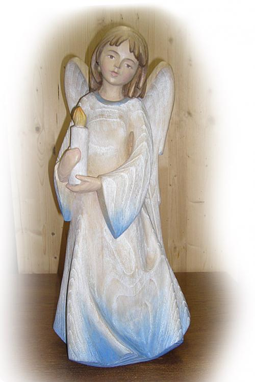Engel mit Kerze Esche handbemalt
