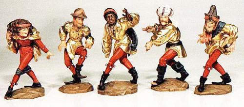 die heitere Note Ihres Daheims; 5 Tänzer der 10 Moriskentänzer von Erasmus Grasser