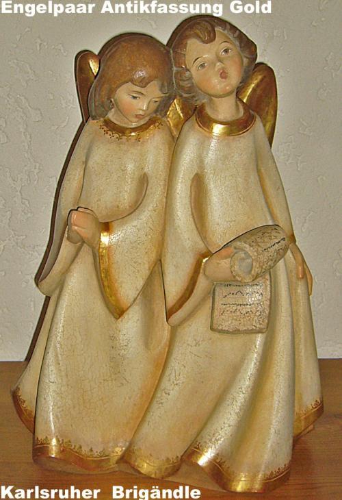 Engelgruppe Antikfassung Gold